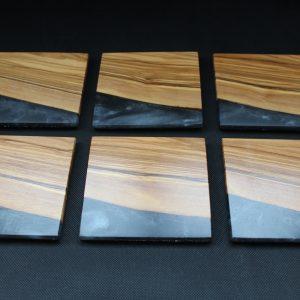 Olive & Black Resin Coasters