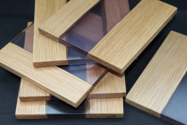 Oak Wood & Purple Resin River Coasters